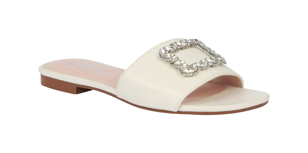 De Blossom Bridal Women's Shimmer and Rhinestone Buckle Ornament Slide Sandal- White