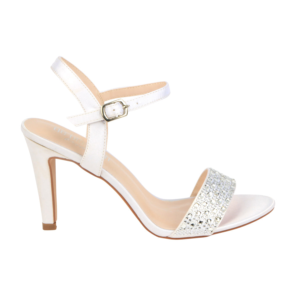 """Hannah"" Single Sole Satin Rhinestone Bridal Shoe- White"
