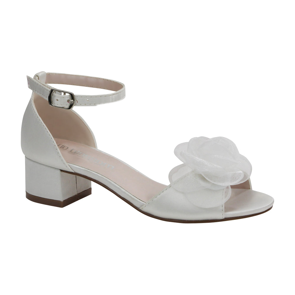 De Blossom Bridal Women's Satin Low Heeled Wedding Sandal with Flower Detail and Ankle Strap- Ivory
