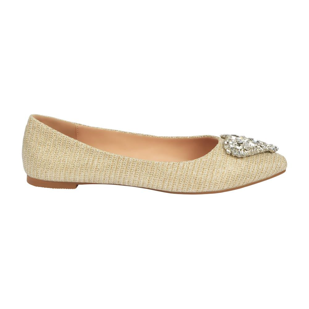 Kitty-3B Women's Satin Pointed Toe Flat with Heart Rhinestones- Nude
