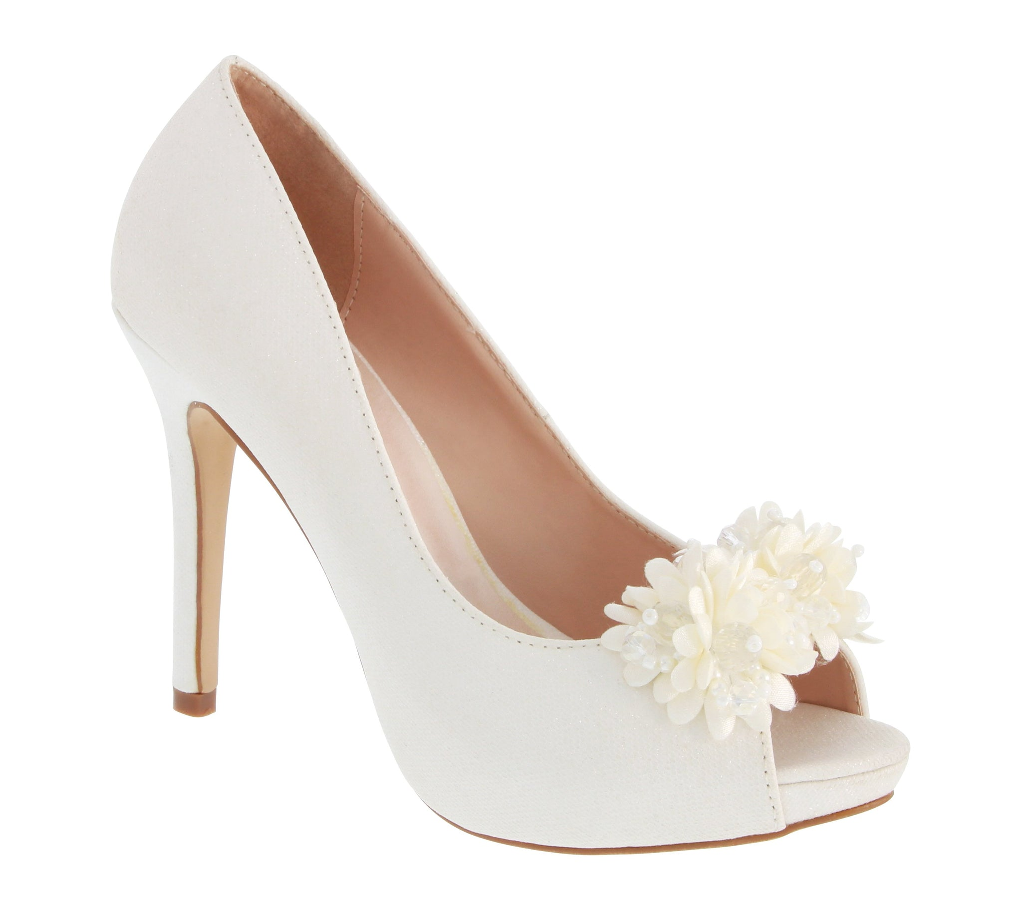 Lavinia-1B Peep Toe Bridal Pump- White