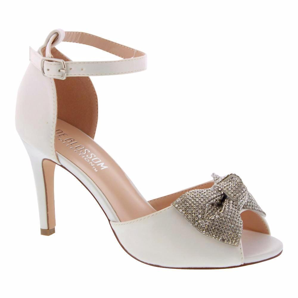 Paris-15B Satin Bow Heel- Ivory