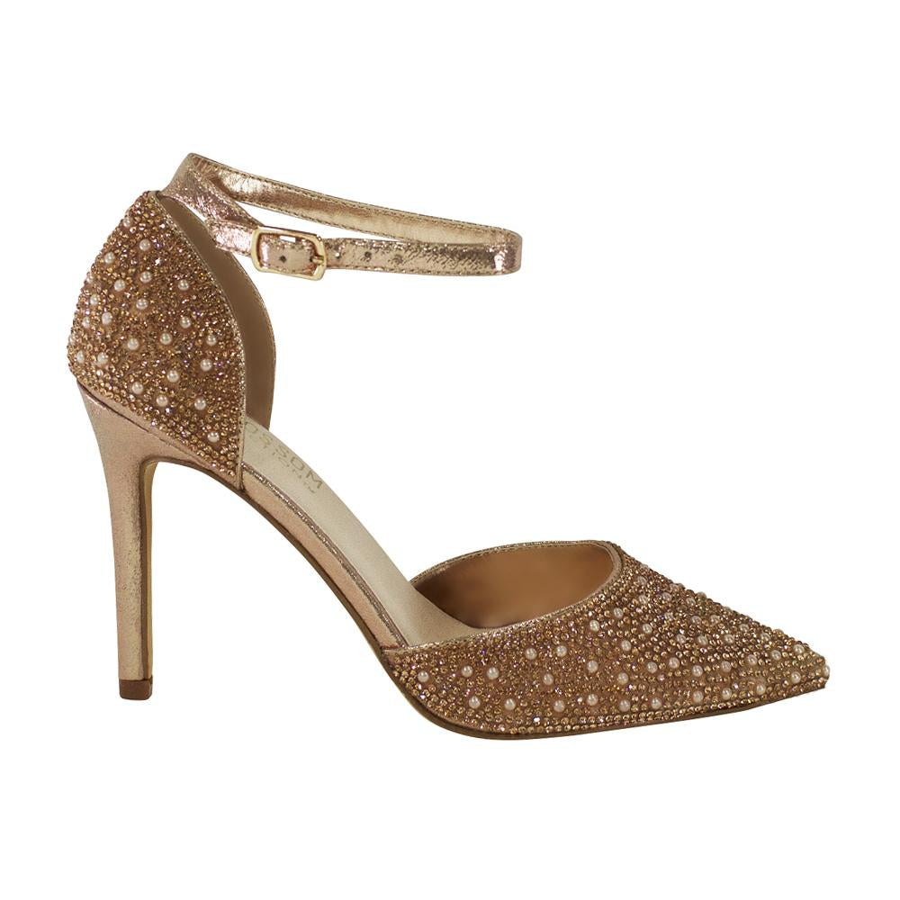 Reese-2 Pearl and Rhinestone D'Orsay Pump- Rose Gold