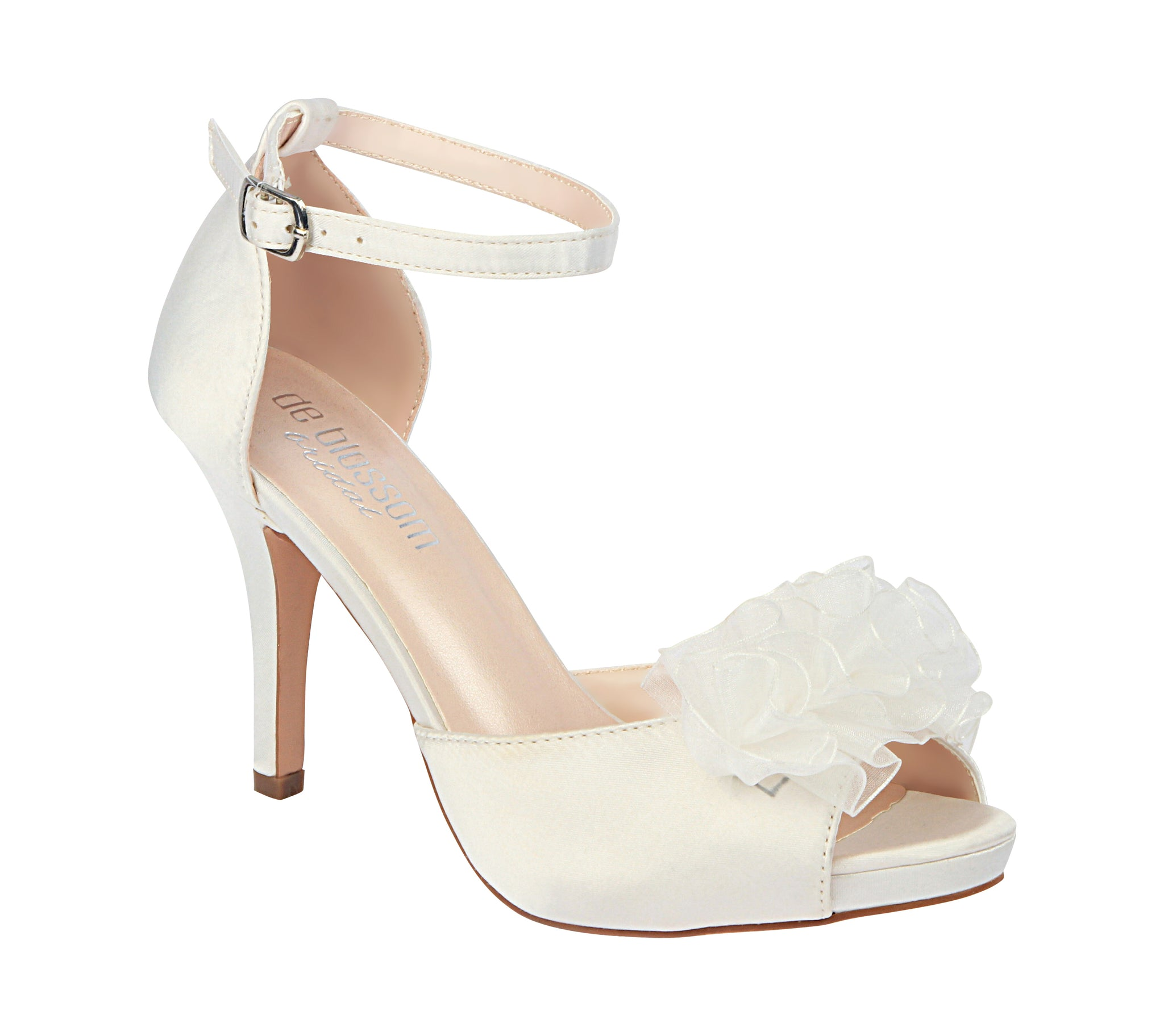 """Renee"" Satin Flower Wedding Heel- Ivory"
