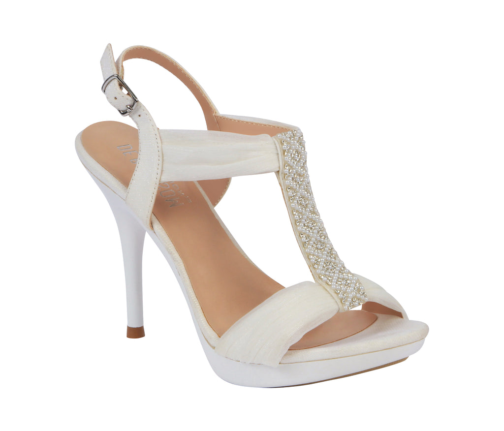 """Sanyo"" White Chiffon Bridal Heeled Sandal- White"