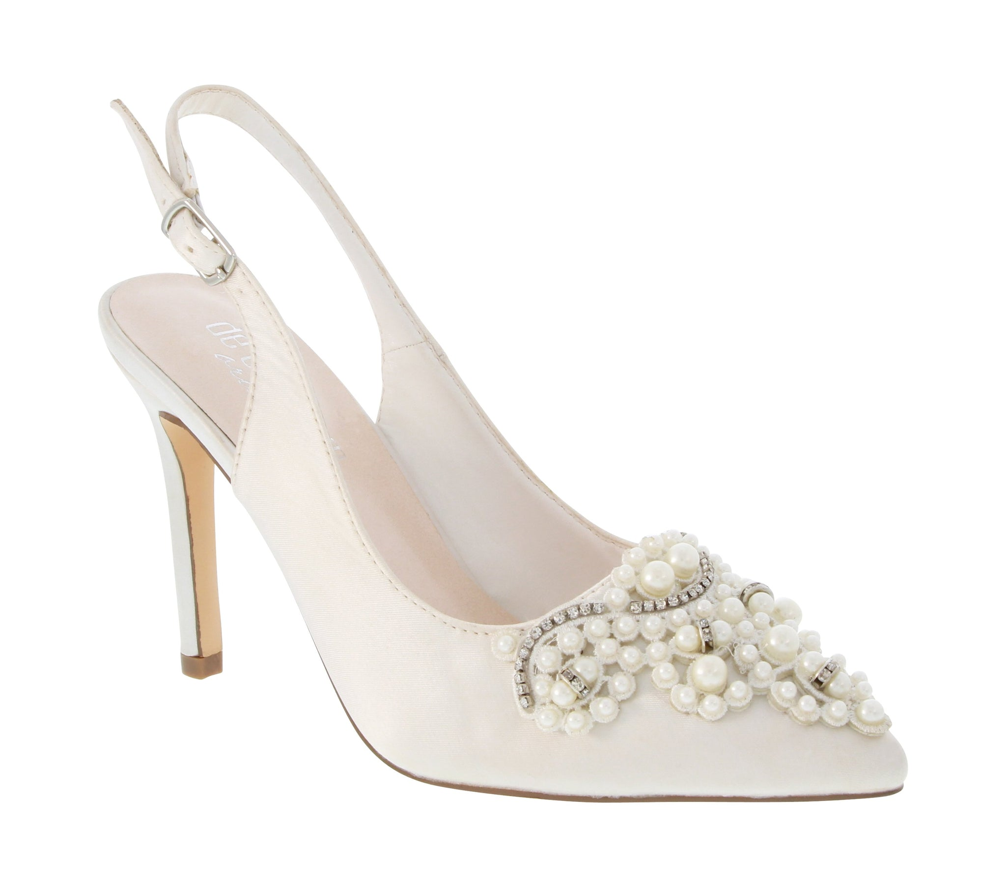 """Vinci"" Satin Pearl Bridal Shoe with Pointed Toe- Ivory"