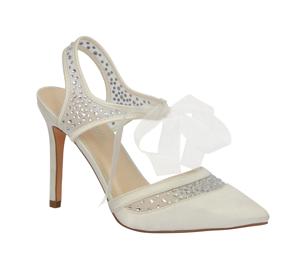 """Wilma"" Satin Pointed Toe with Sheer Details- Ivory"