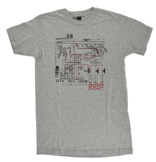 Russo Music 'Schematic' T-Shirt - Heather Grey