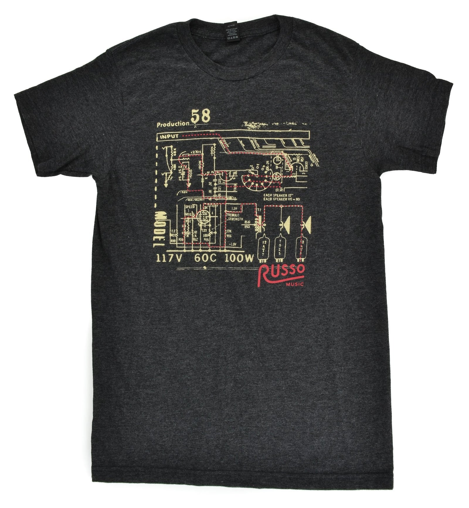 Russo Music 'Schematic' T-Shirt - Heather Graphite