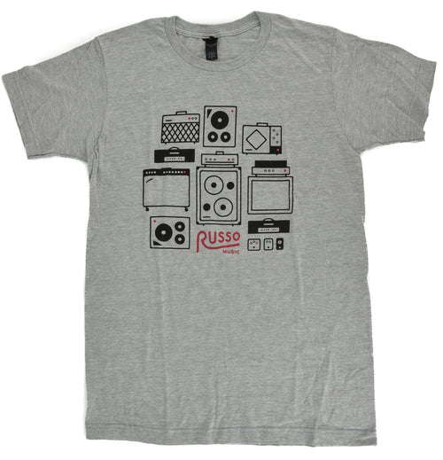 Russo Music 'Amps & Effects' T-Shirt - Heather Grey
