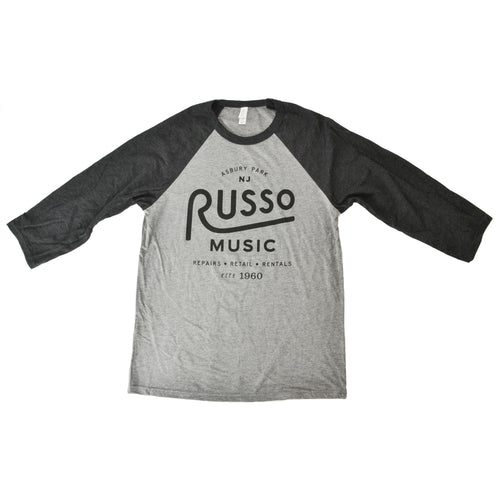 Russo Music Asbury Park 1960 Logo Baseball T - Grey / Charcoal Black Heather