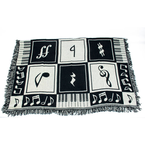 "Blanket Keyboard Notes - Black & White - 46"" x 60"""