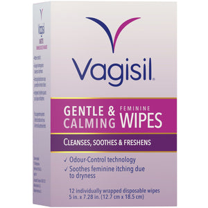 Vagisil Gentle & Calming Feminine Wipes 12 Wipes