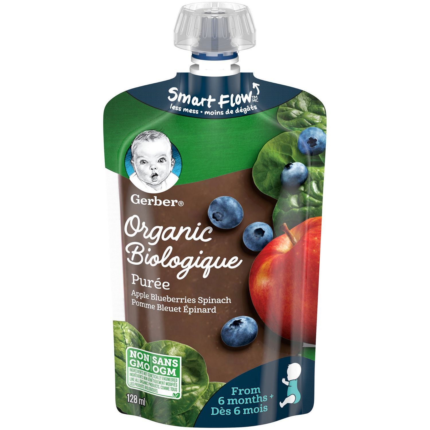Nestle Gerber Organic Apples, Blueberries & Spinach Puree 128mL