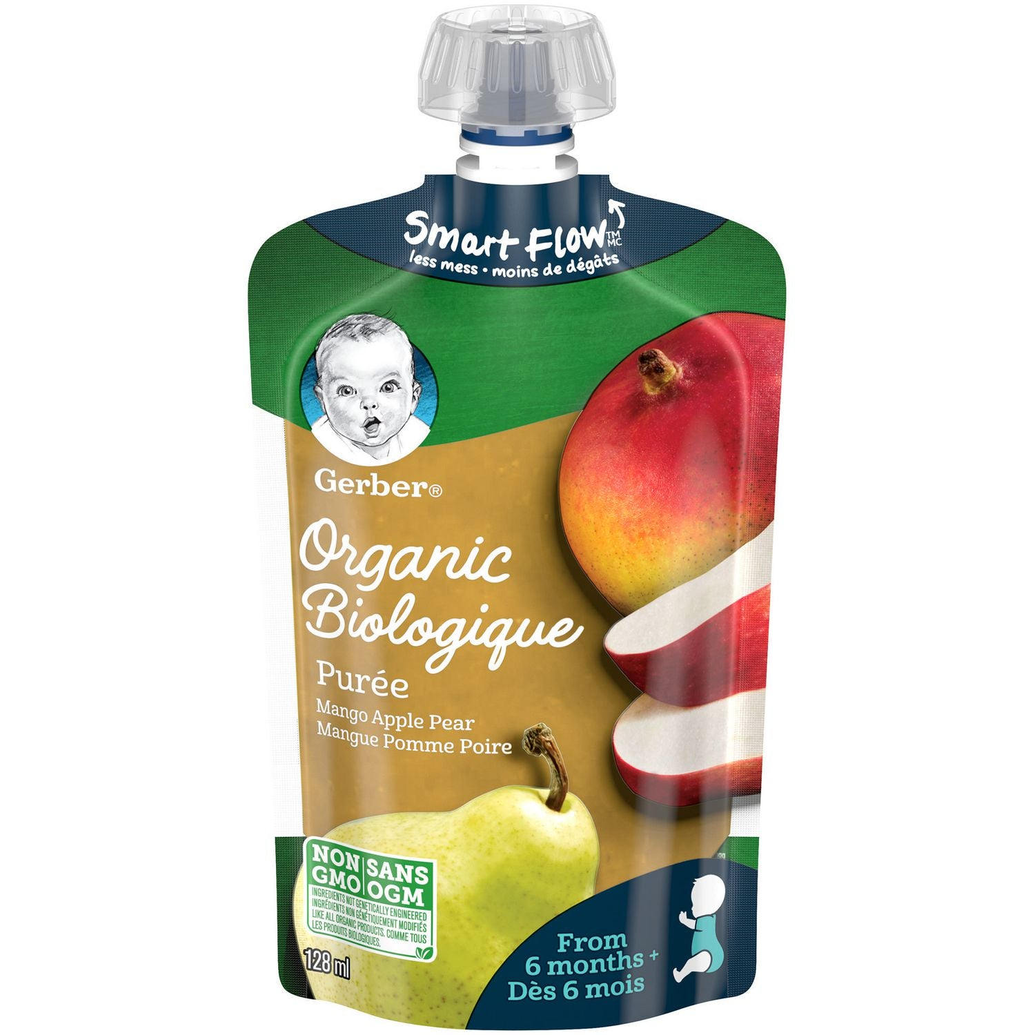 Nestle Gerber Organic Mango, Apple & Pear Puree 128mL