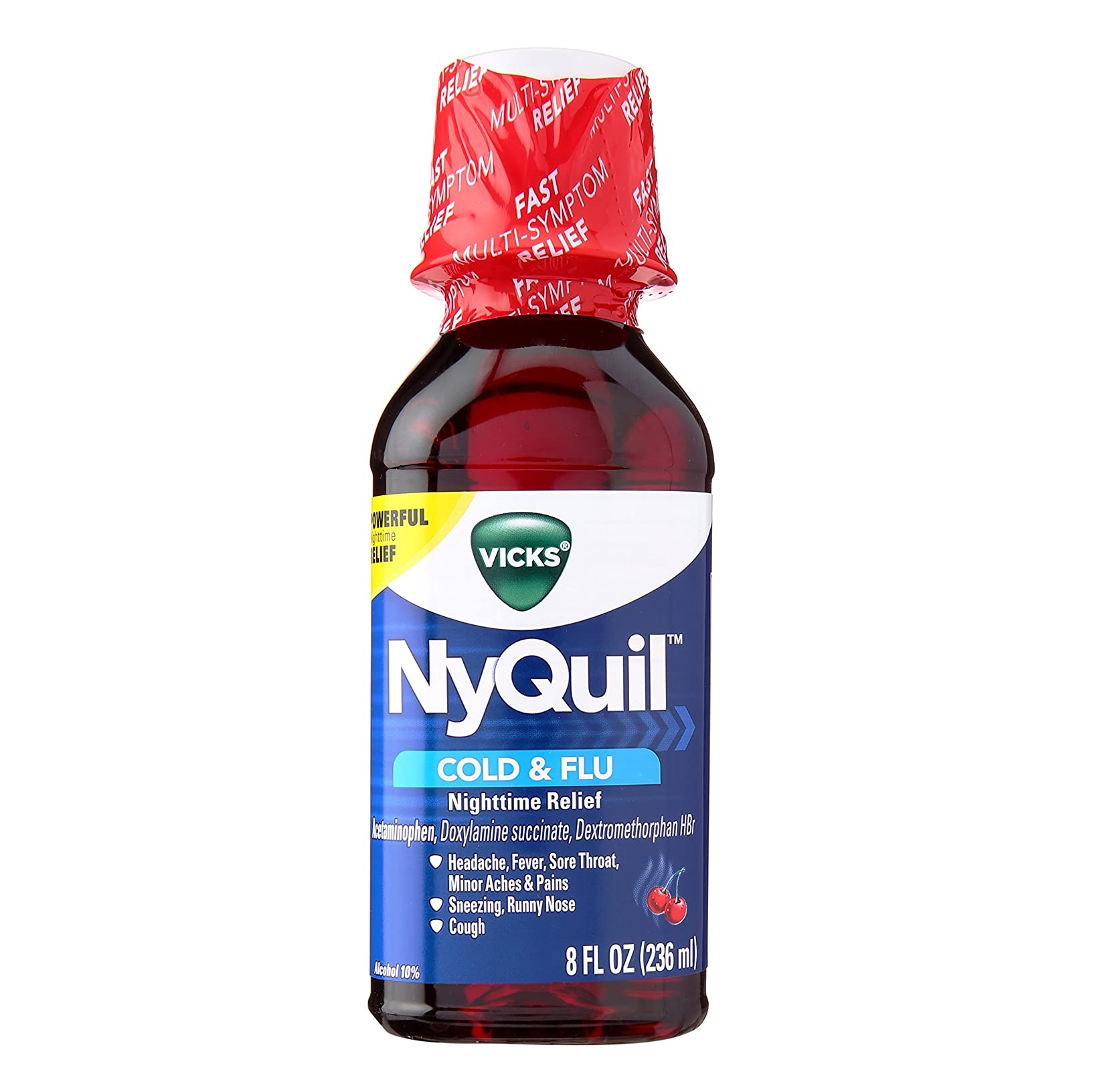 NyQuil Cold & Flu Nighttime Relief Liquid Soothing Cherry Flavour