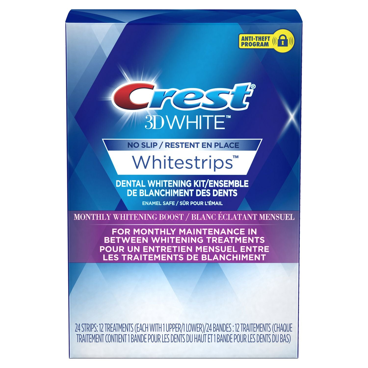 Crest 3DWhite Whitestrips Monthly Whitening Boost 24 Strips (12 Treatments)
