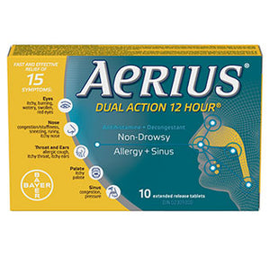 Aerius Dual Action 12 Hour Allergy + Sinus Relief 10 Extended Release Tablets