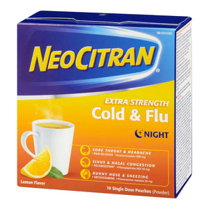 NeoCitran Cold & Sinus Extra Strength Nighttime 10 Single Dose Pouches
