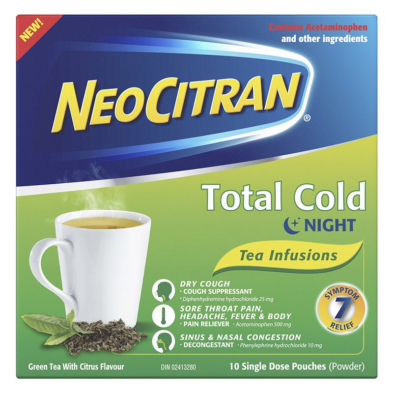 NeoCitran Total Cold Tea Infusions Nighttime 10 Single Dose Pouches