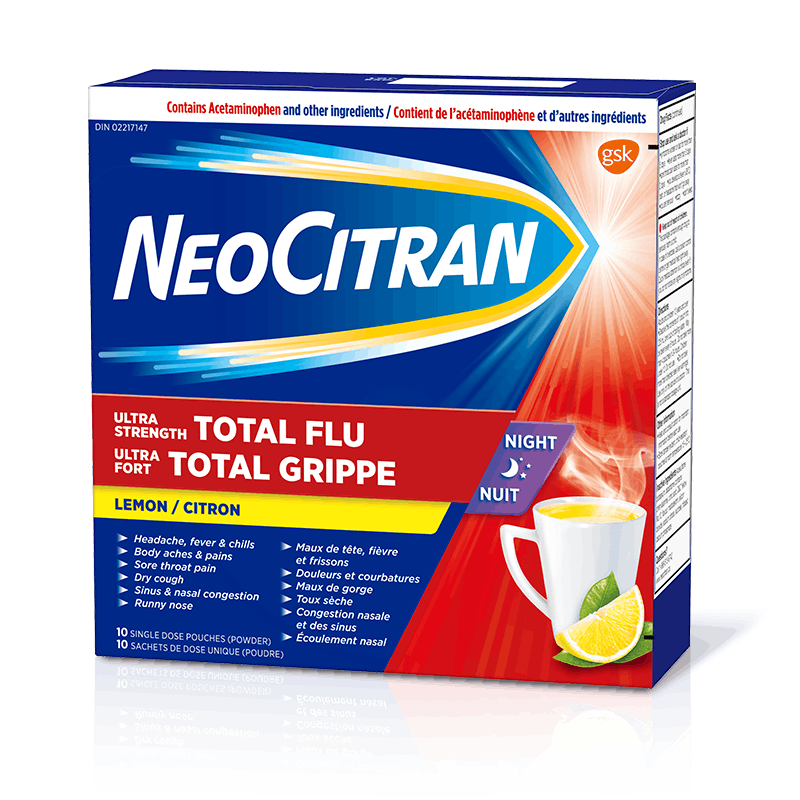 NeoCitran Total Flu Ultra Strength Nighttime 10 Single Dose Pouches
