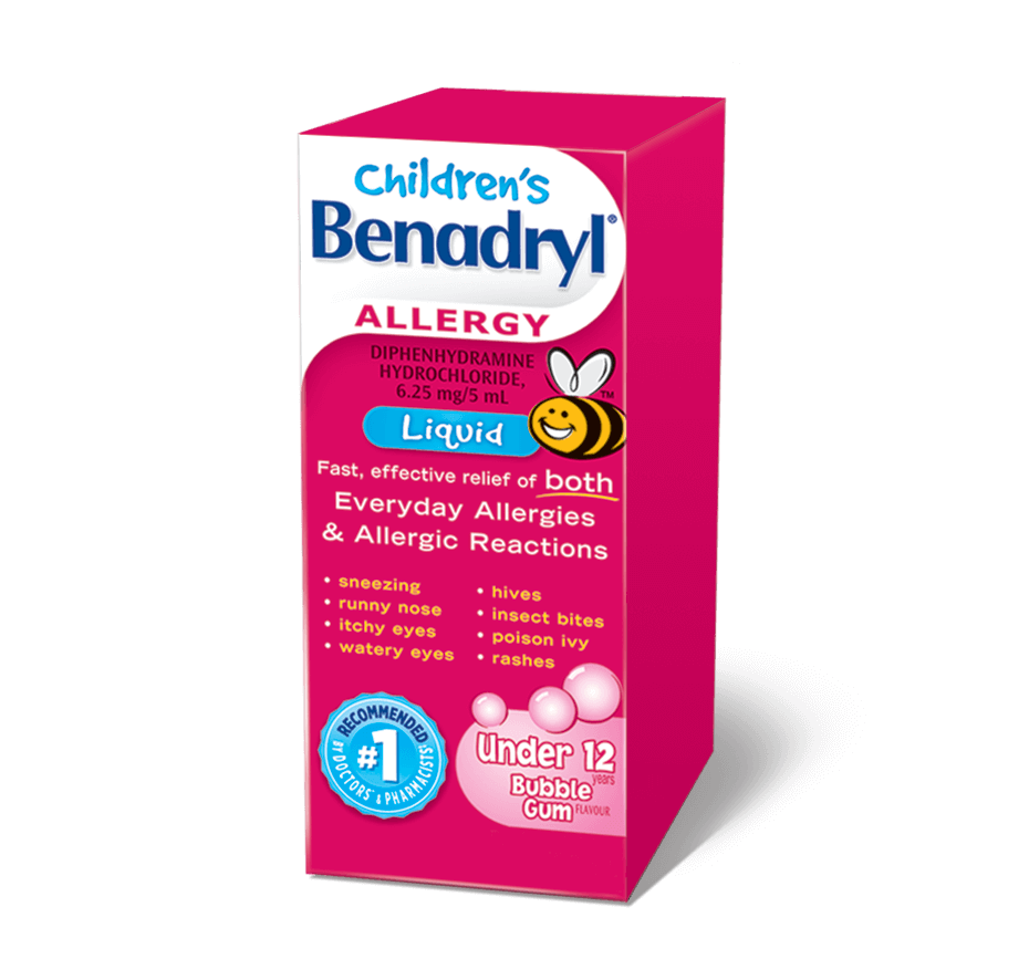 Children's Benadryl Allergy Liquid 100mL Bubble Gum