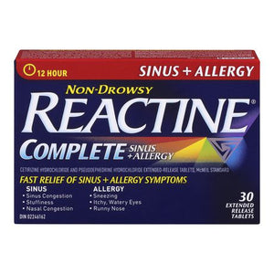 Reactine Complete Sinus + Allergy 30 Extended Release Tablets
