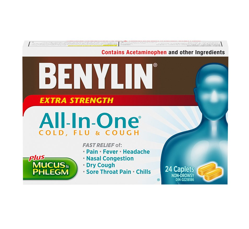 Benylin All-In-One Cold And Flu Extra Strength Plus Mucus & Phlegm 24 Caplets
