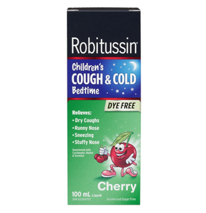 Robitussin Children's Cough & Cold Bedtime Cherry Flavour Dye Free 100mL