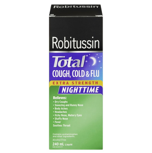 Robitussin Total Cough, Cold & Flu Nighttime Extra Strength 240mL
