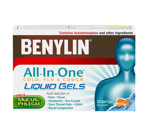 Benylin All-In-One Cold And Flu Plus Mucus and Phlegm 20 Gel Caps