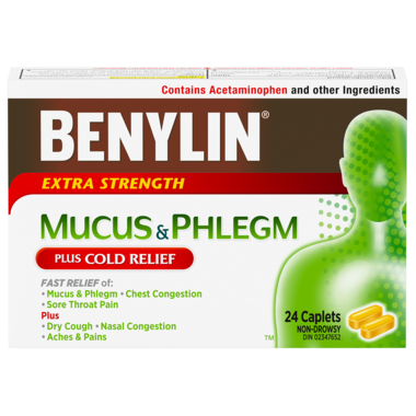 Benylin Mucus & Phlegm Extra Strength Plus Cold Relief 24 Caplets