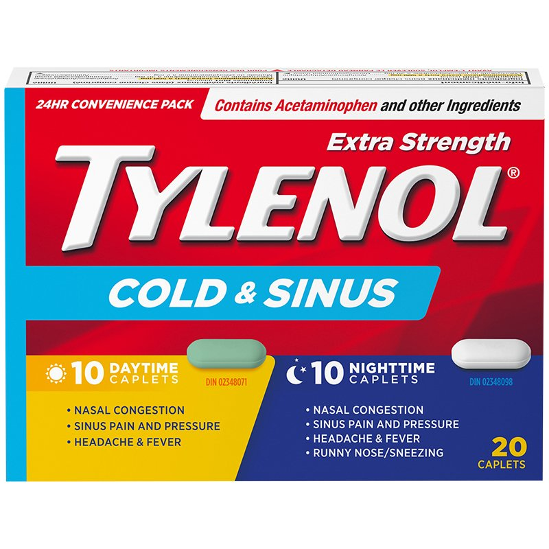 Tylenol Extra Strength Cold & Sinus 24 Hour Convenience Pack