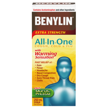 Benylin All-In-One Cold And Flu Extra Strength Plus Mucus & Phlegm with Warming Sensation 250mL