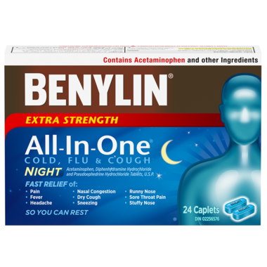 Benylin All-In-One Cold And Flu Extra Strength Night 24 Caplets