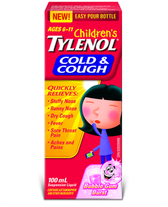 Children's Tylenol Cold & Cough Bubble Gum Burst 100mL