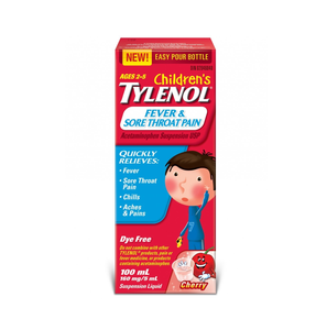 Children's Tylenol Fever & Sore Throat Pain Dye Free Cherry Flavour 100mL