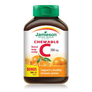 Jamieson Vitamin C 100+20 Chewable Tablets Natural Tangy Orange