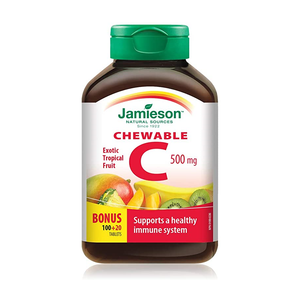 Jamieson Vitamin C 100+20 Chewable Tablets Tangy Citrus Fruit