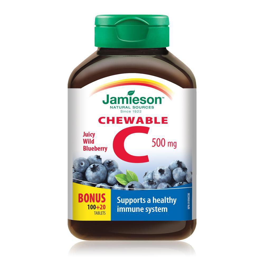 Jamieson Vitamin C 100+20 Chewable Tablets Juicy Wild Blueberry