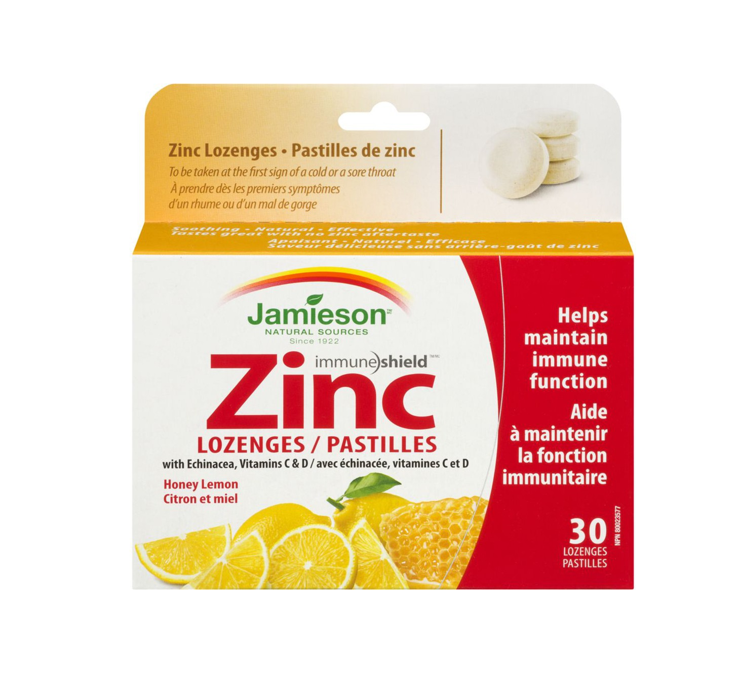 Jamieson Zinc Lozenges 30 Lozenges Honey Lemon