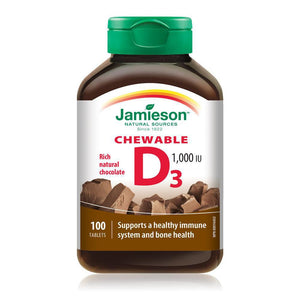 Jamieson Vitamin D 1000IU 100 Chewable Tablets Rich Natural Chocolate Flavour