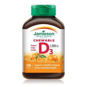Jamieson Vitamin D 1000IU 100 Chewable Tablets Natural Tangy Orange Flavour