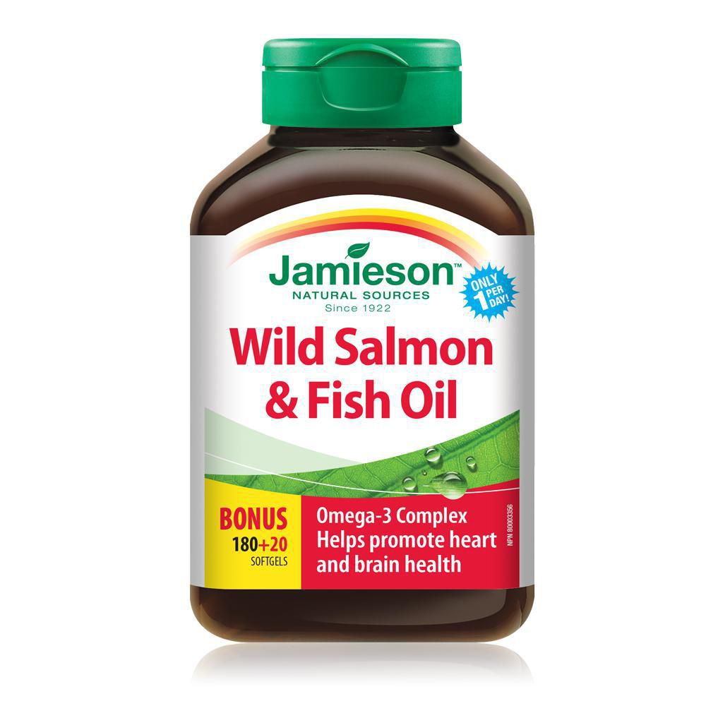 Jamieson Wild Salmon & Fish Oil 180 + 20 Softgels