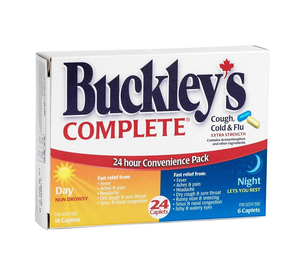 Buckley's Complete 24 Hour Convenience Pack 24 Caplets (18 Day & 6 Caplets)