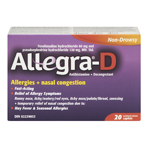 Allegra-D Allergies + Nasal Congestion 20 Caplets