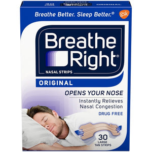 Breathe Right Nasal Strips - 30 Large Tan Strips