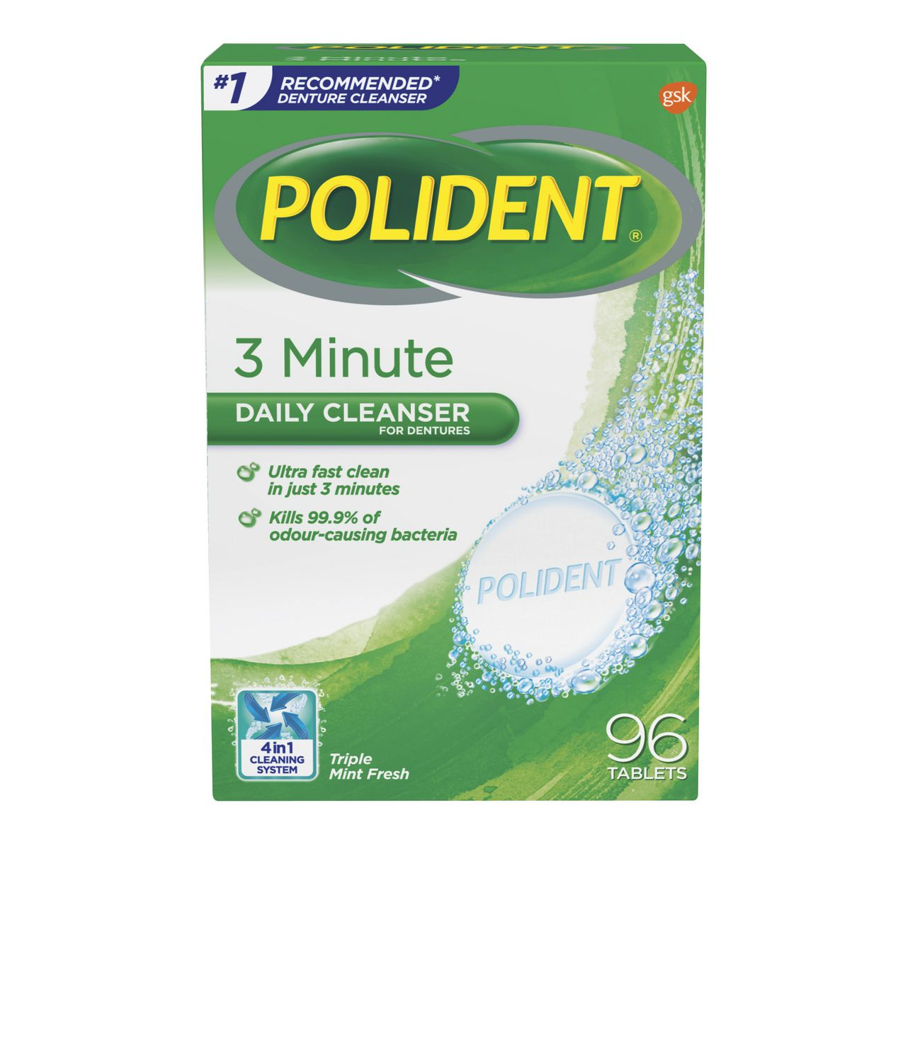 Polident 3 Minute Daily Cleanser for Dentures 96 Tablets