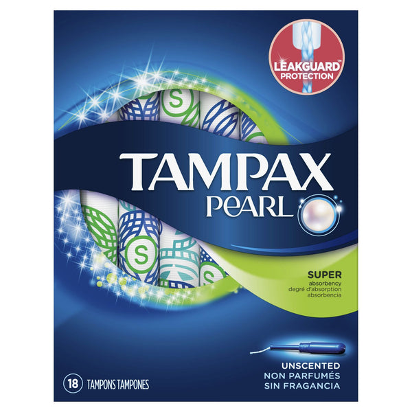Tampax Pearl Unscented Tampons 18 Tampons