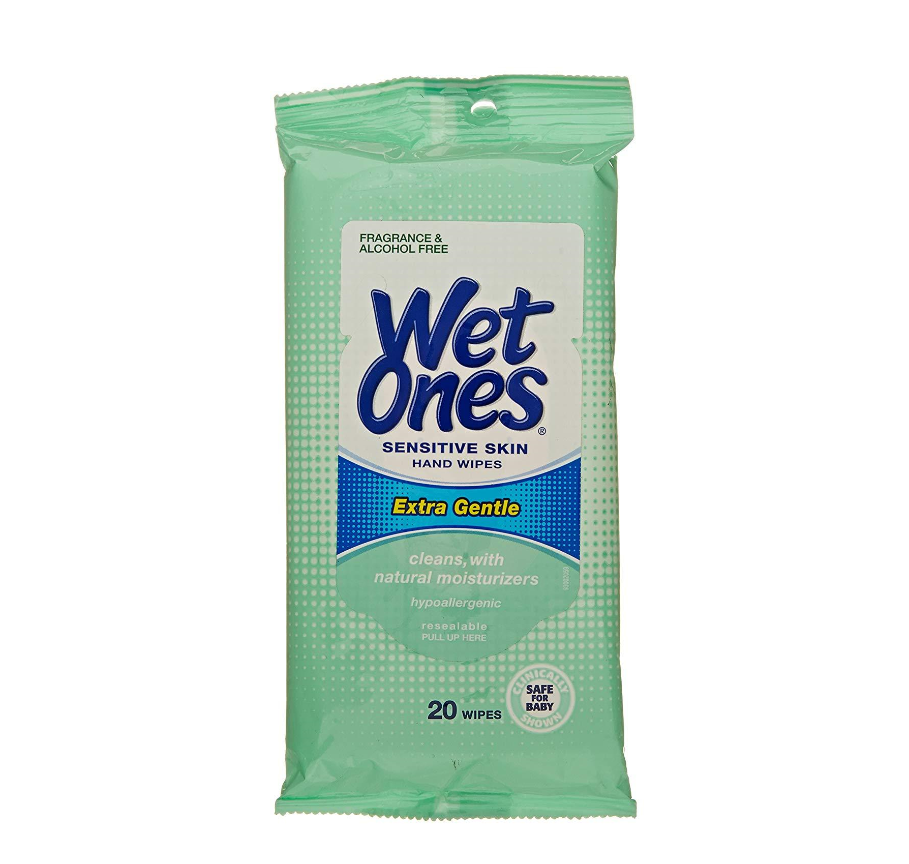 Wet Ones Sensitive Skin Hand & Face Wipes 20
